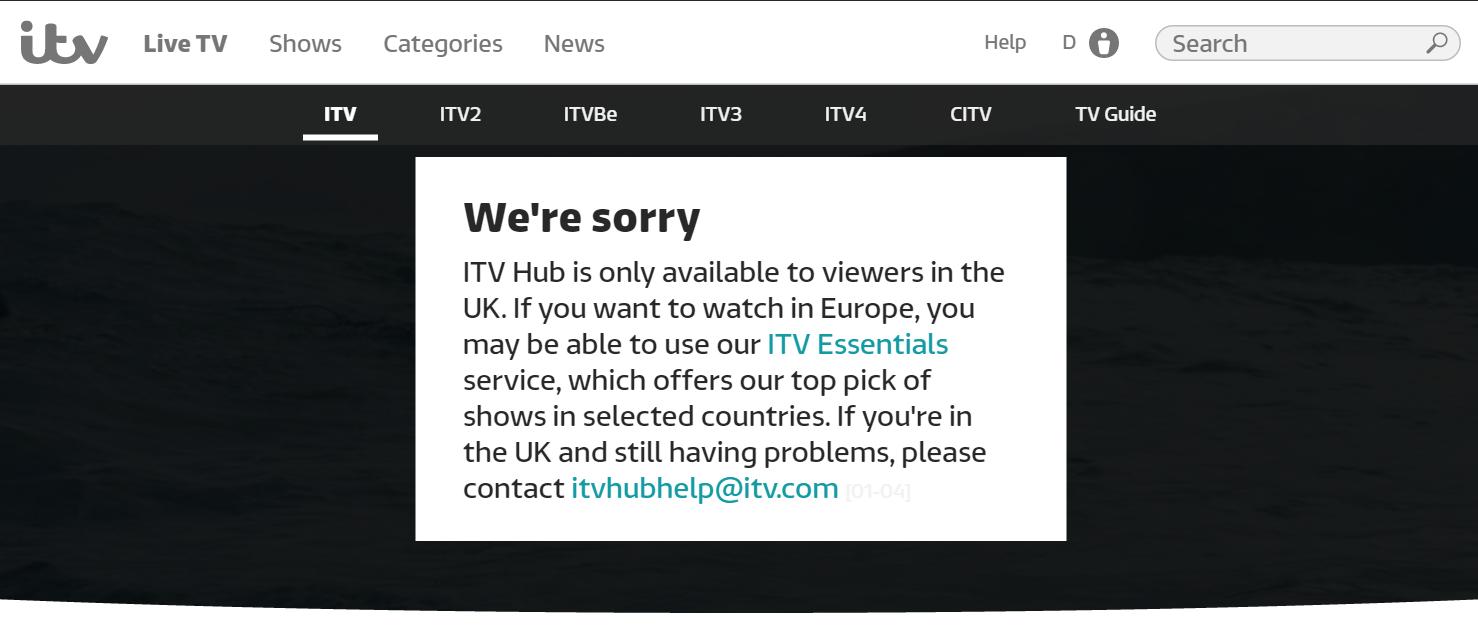 ITV blocked