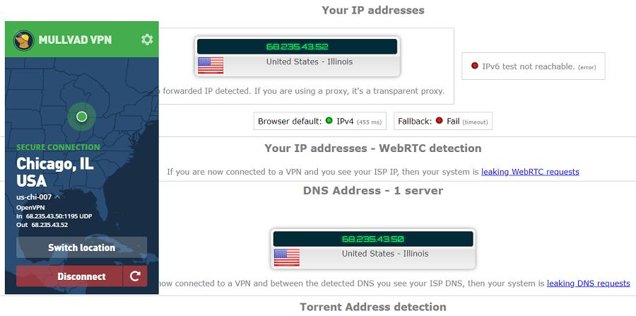 Mullvad IP Leak Test
