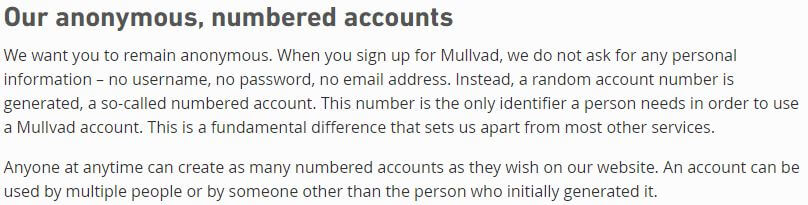 Mullvad Numbered Accounts