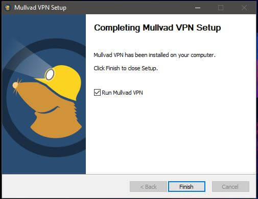Mullvad Windows Installation Complete