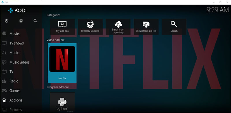 Netflix addon installed on Kodi