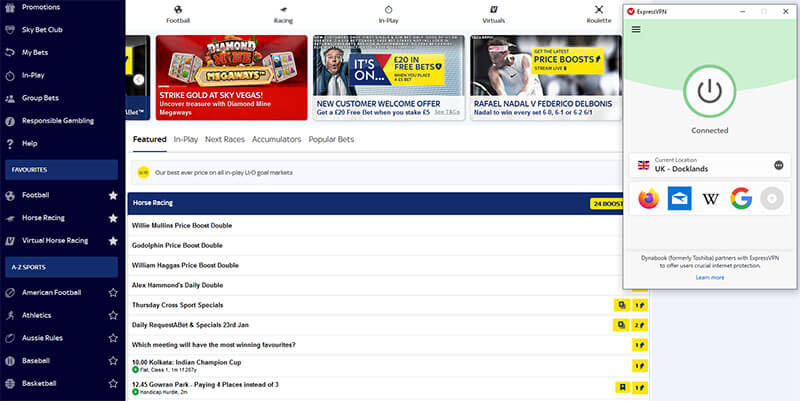 Sky Bet with VPN on