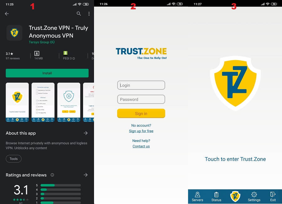 Trust.Zone Android 1, 2, 3