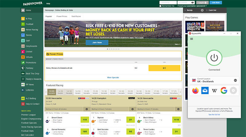 Unblock Paddy Power with ExpressVPN