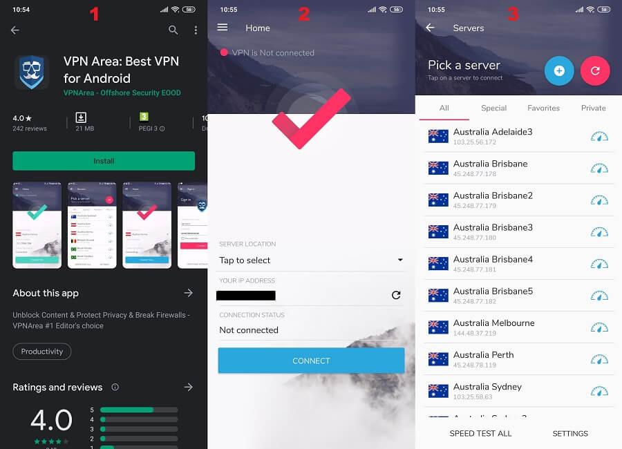 VPNarea Android 1, 2, 3