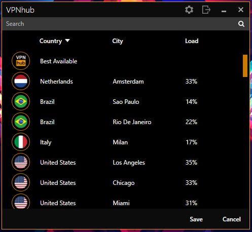 VPNhub Windows Server List