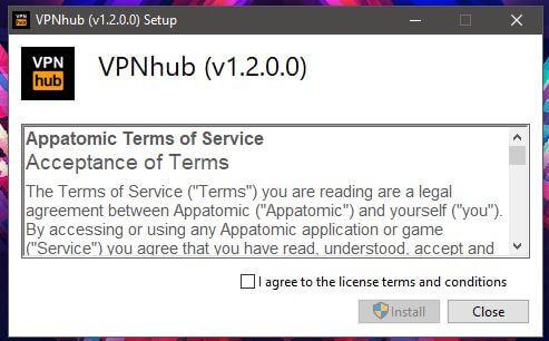 VPNhub Windows Setup 1