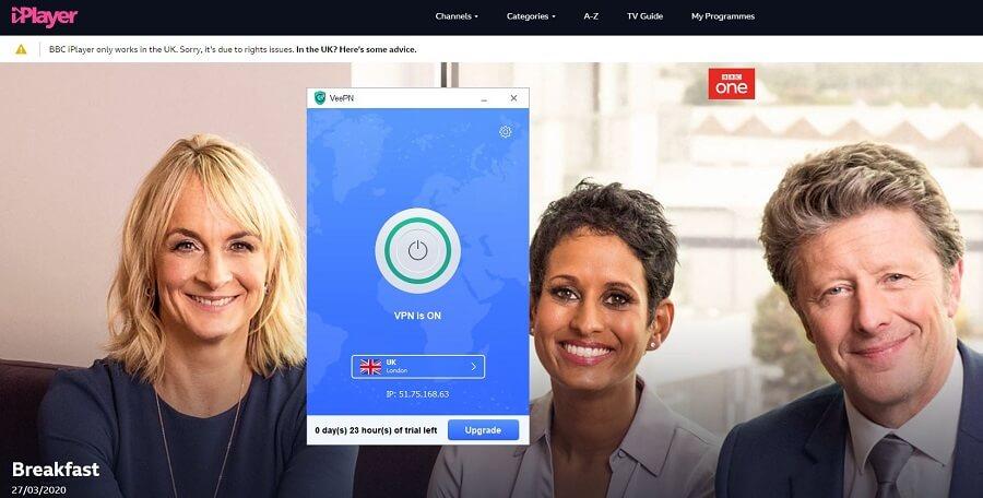 VeePN BBC iPlayer