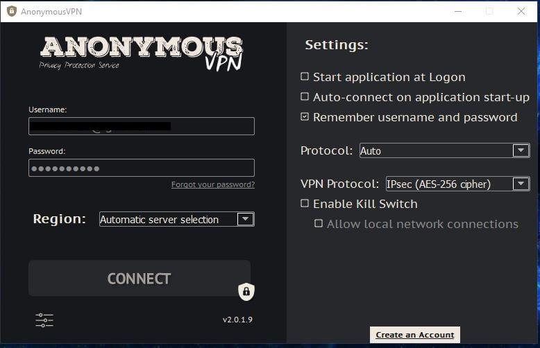 Anonymous VPN Settings