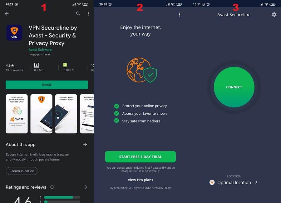 Avast SecureLine Android 1, 2, 3