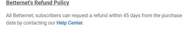 Betternet Refund