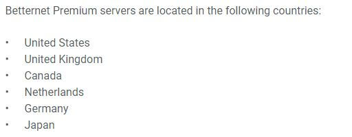 Betternet Servers