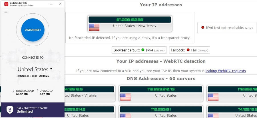 Bitdefender IP Leak Test