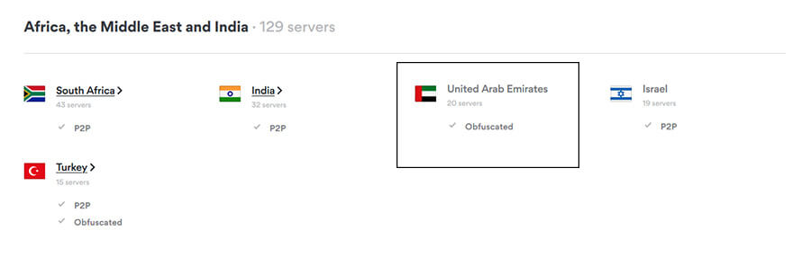 Emirati Servers NordVPN