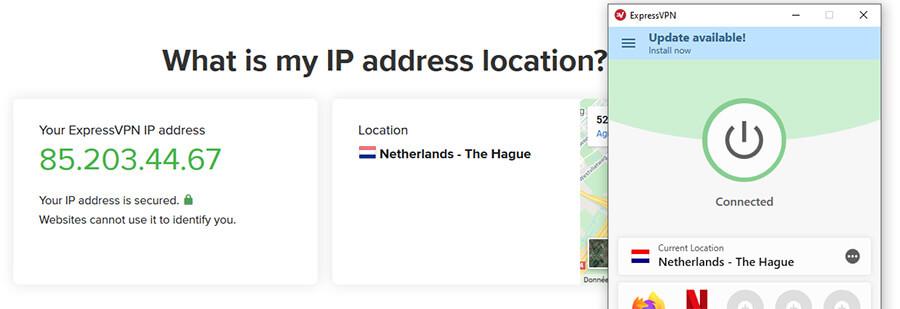ExpressVPN connected Netherlands