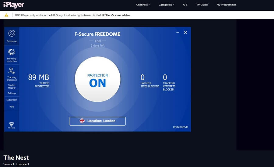 F-Secure Freedome BBC iPlayer