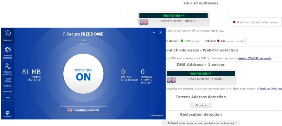F-Secure Freedome IP Leak Test