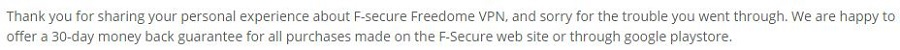 F-Secure Freedome Refund