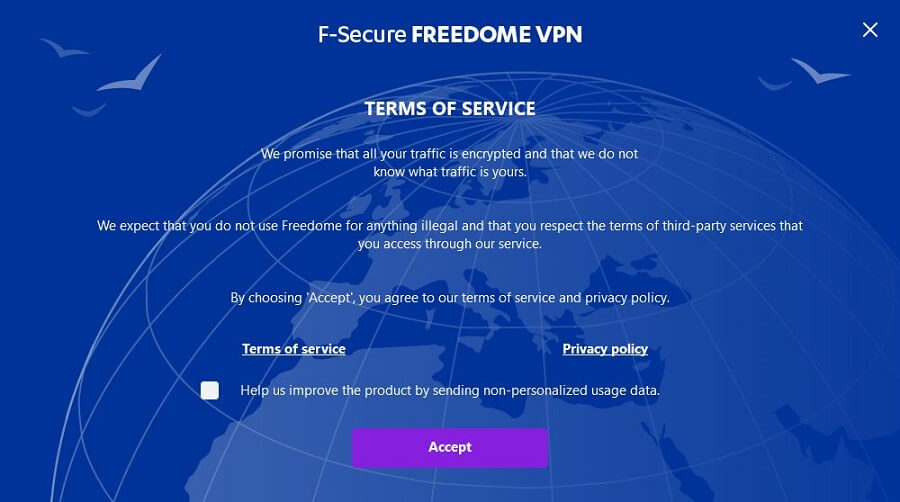 F-Secure Freedome VPN Setup 2