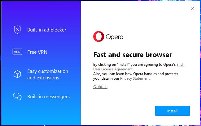 Opera VPN Windows Setup 1