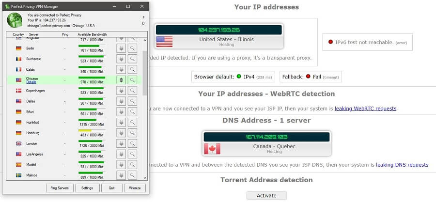 Perfect Privacy IP Leak test