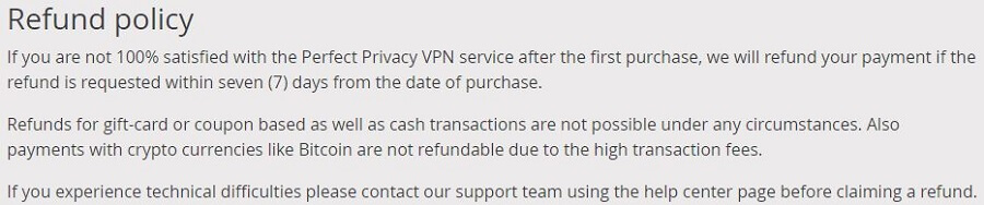 Perfect Privacy Refund Policy