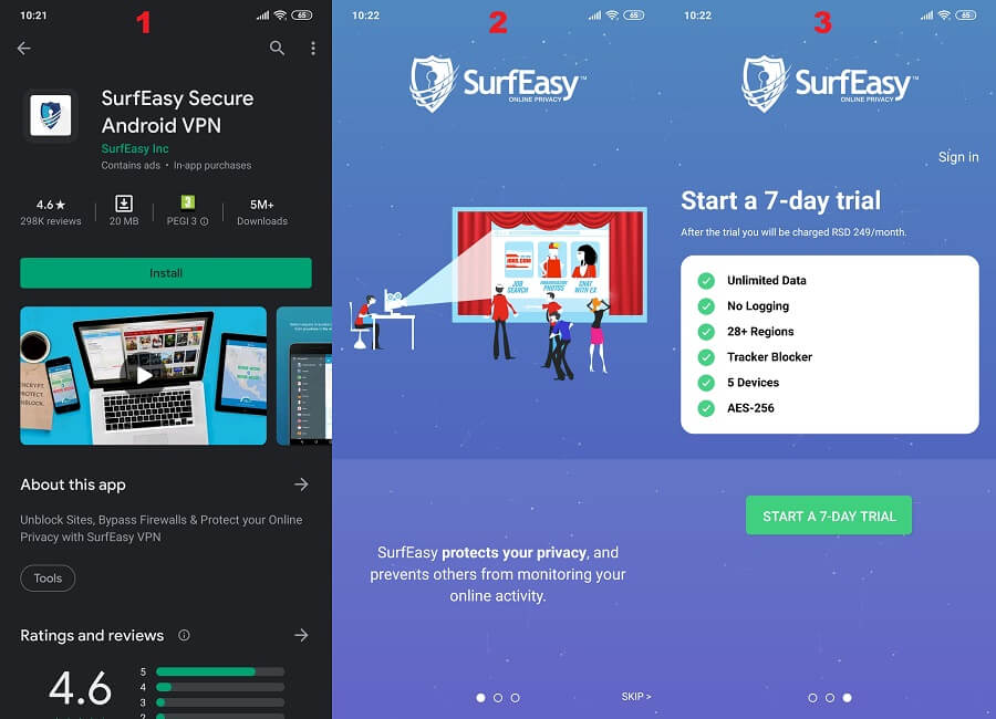 Surfeasy Android 1,2, 3