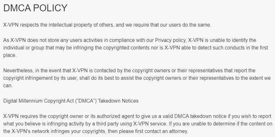 X-VPN DMCA Policy