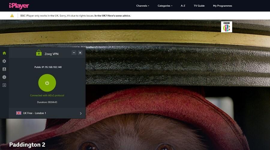 ZoogVPN BBC iPlayer