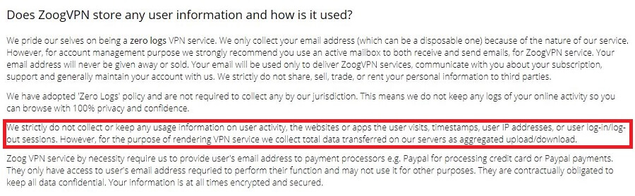 ZoogVPN Privacy Policy