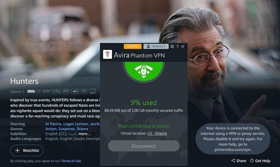 Avira Phantom VPN Amazon Prime Video
