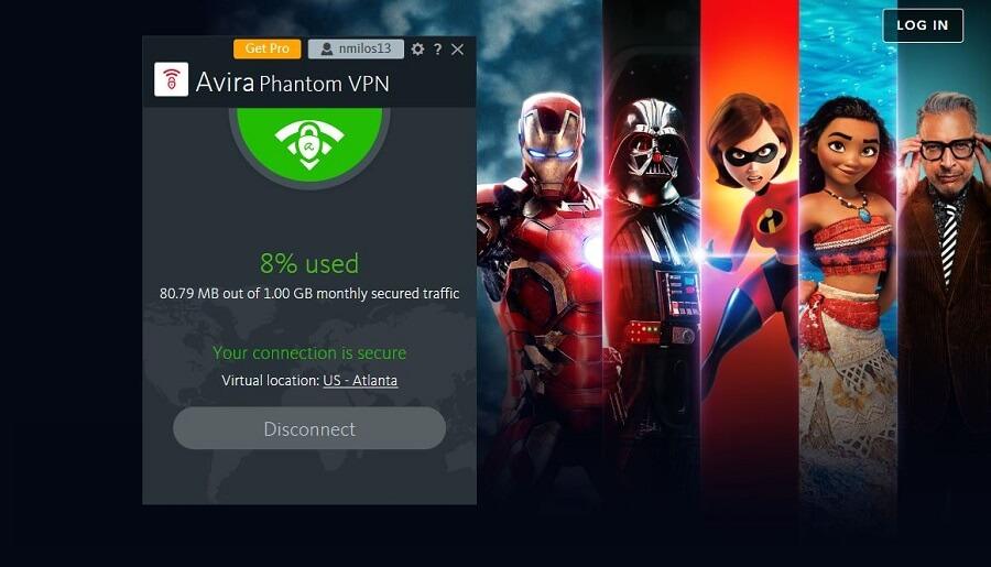 Avira Phantom VPN Disney+