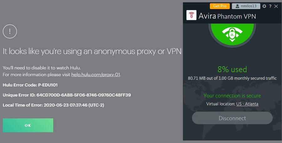 Avira Phantom VPN Hulu
