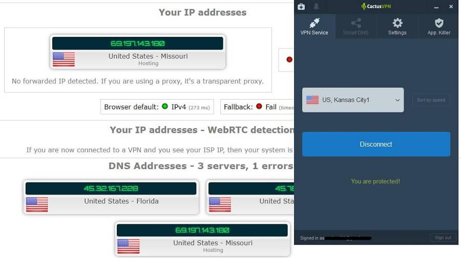 CactusVPN IP Leak Test