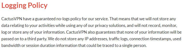 CactusVPN Privacy Policy