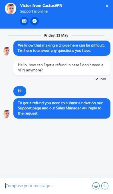 CactusVPN Refund Chat