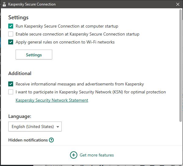 Kaspersky Secure Connection Features