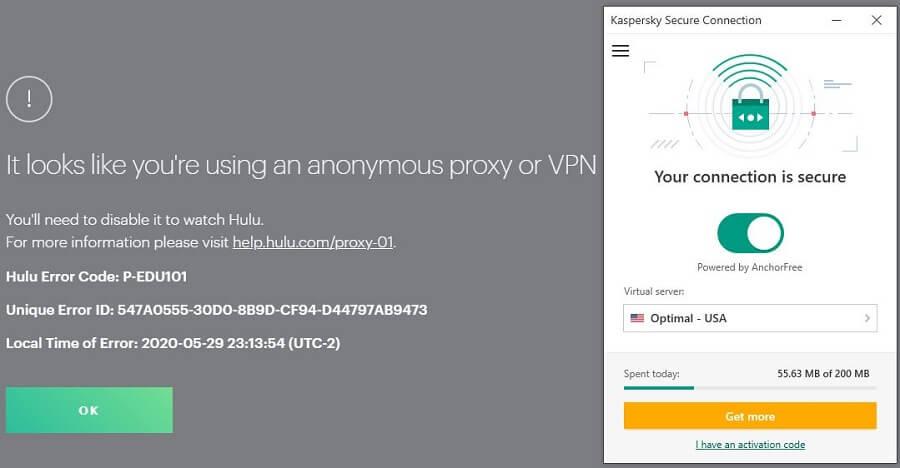 Kaspersky Secure Connection Hulu