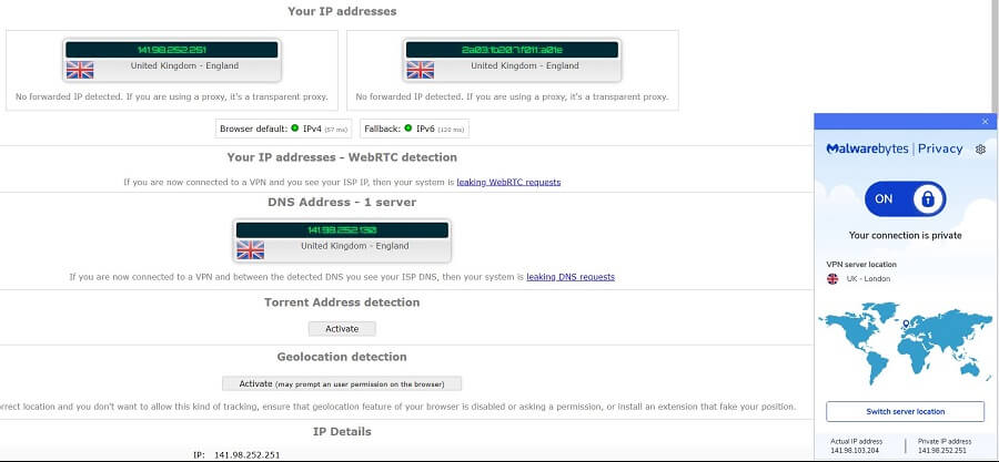 Malwarebytes VPN IP Leak Test