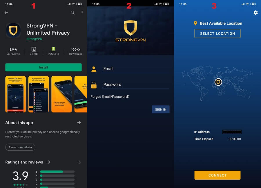 StrongVPN Android 1