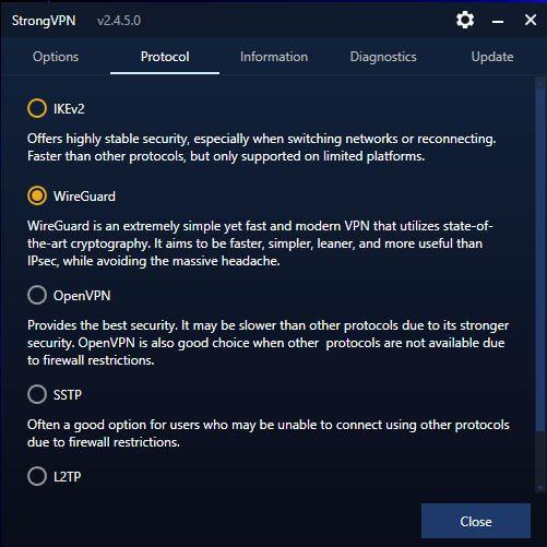 StrongVPN Protocols