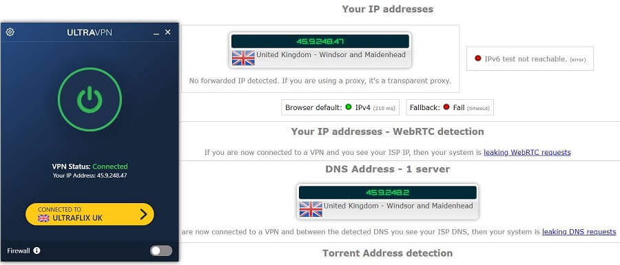 UltraVPN IP Leak Test