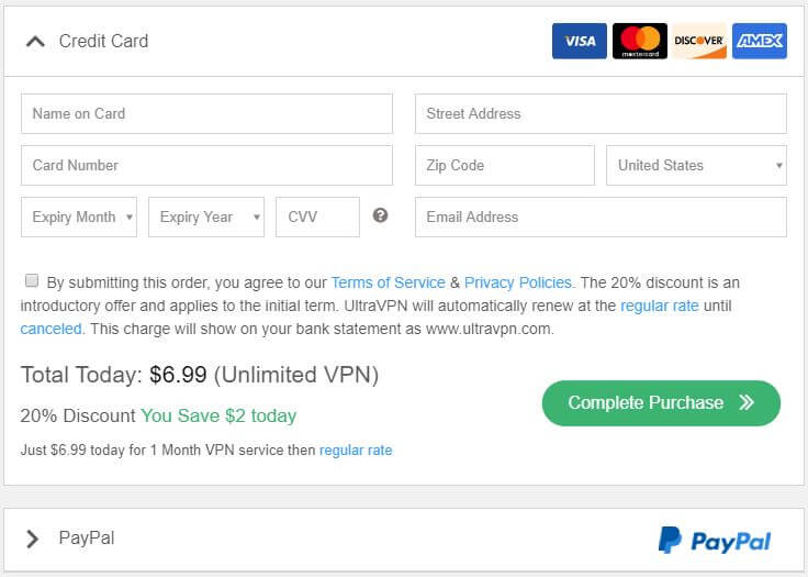 UltraVPN Payment Methods