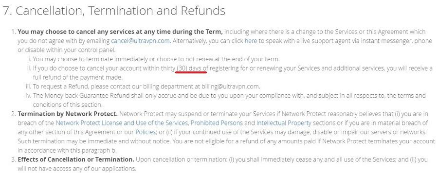 UltraVPN Refund Policy