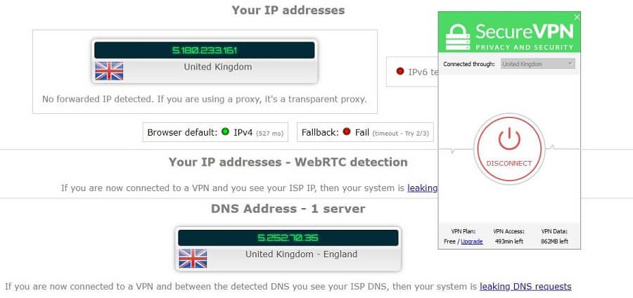 SecureVPN IP Leak Test