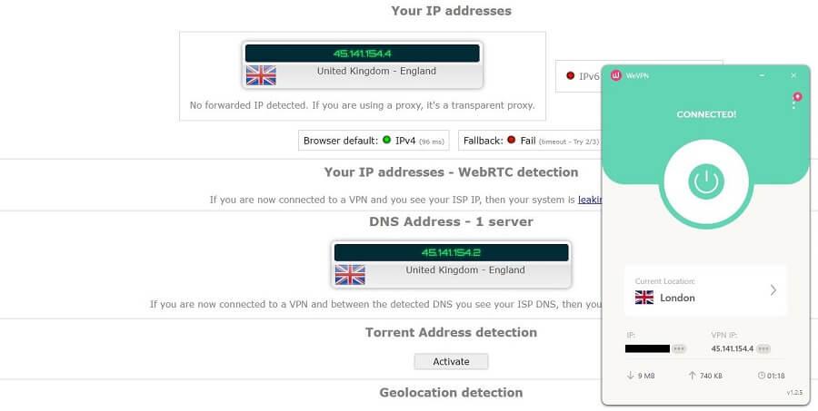 WeVPN IP Leak Test