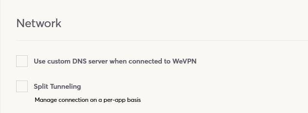 WeVPN Split Tunneling