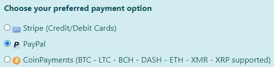 Ra4wVPN Payment Methods