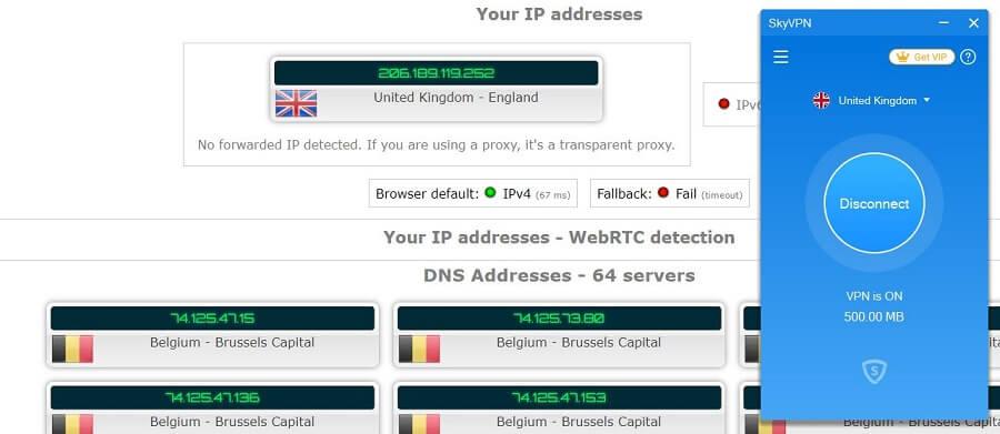 SkyVPN IP Leak test