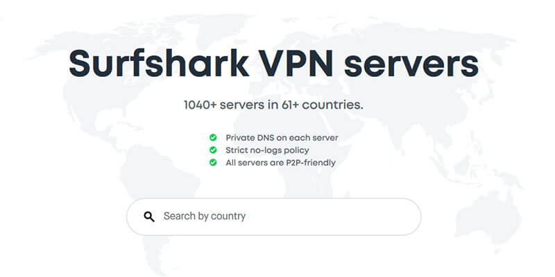 Surfshark Countries Covered